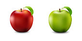 Red and Green Apple Set. Realistic With Leaf. Detailed 3d Illustration Isolated On White.  Vector Illustration.