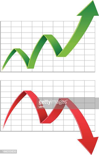 a red and green arrow going up and down - moving down stock illustrations