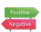 Red and green arrow sign post Positive  and Negative vector