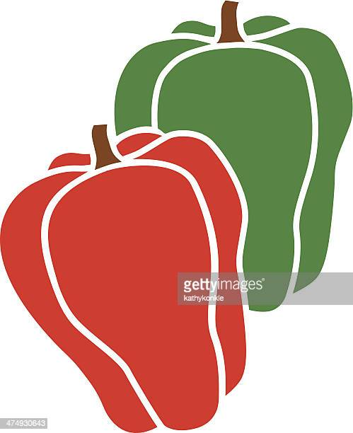red and green bell peppers - bell pepper stock illustrations, clip art, cartoons, & icons