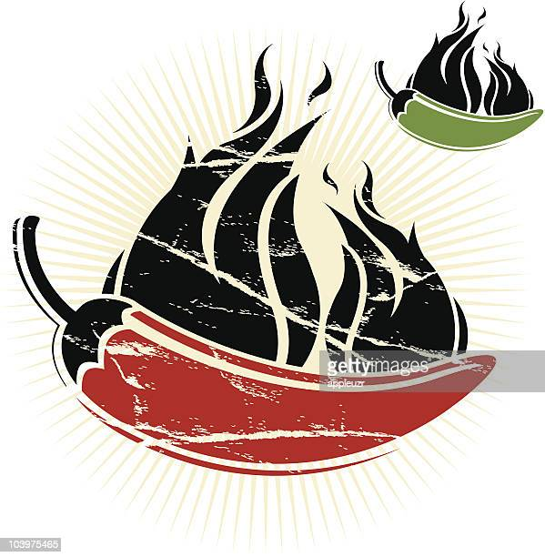 red and green chili peppers - green chili pepper stock illustrations