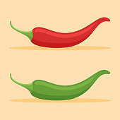 Red and green chilli peppers flat style icon.