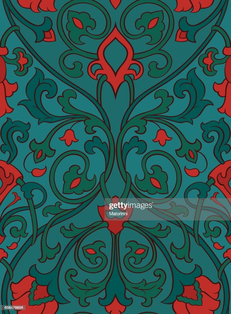 Red and green floral pattern.