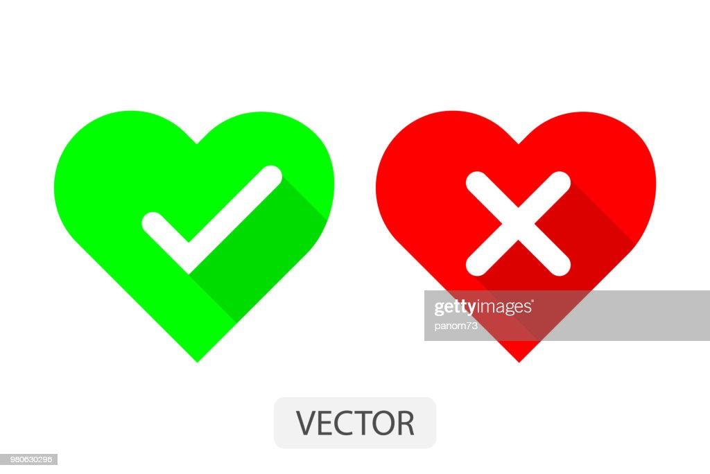 Red and green hearts with Yes and No check marks flat icon vector illustration design for love concept.