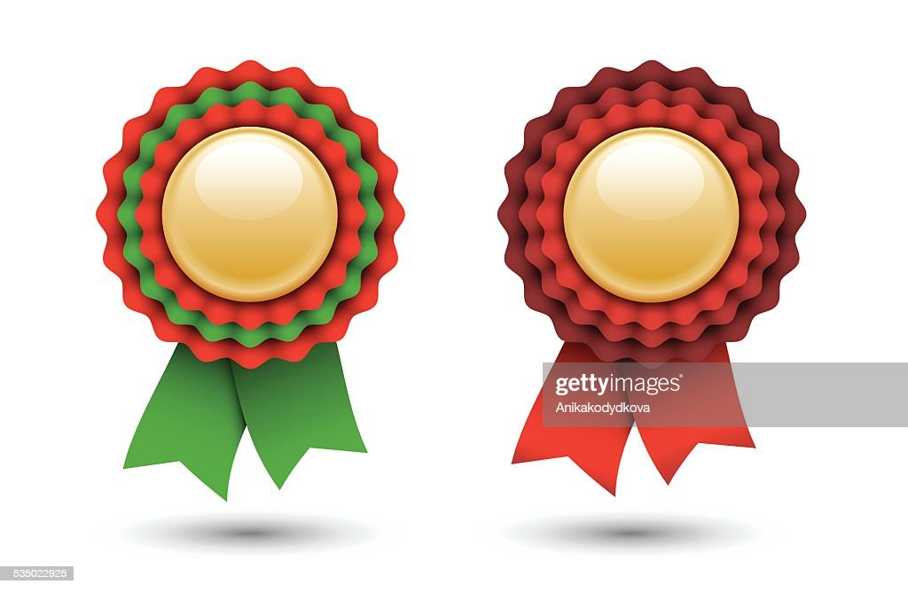 red and green ribbon rosette