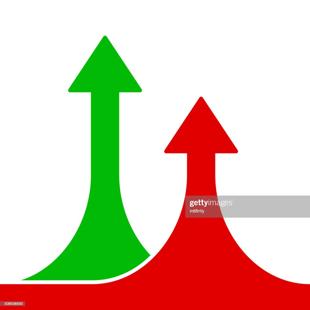 Red and Green Rising Arrows on White Background.Vector