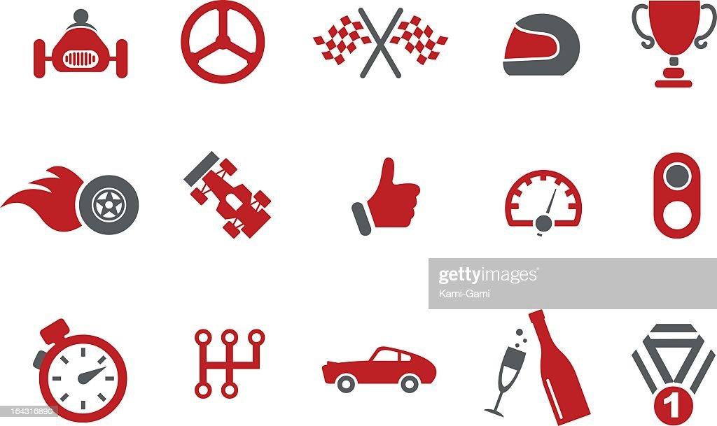 Red and grey vector images with a racetrack theme