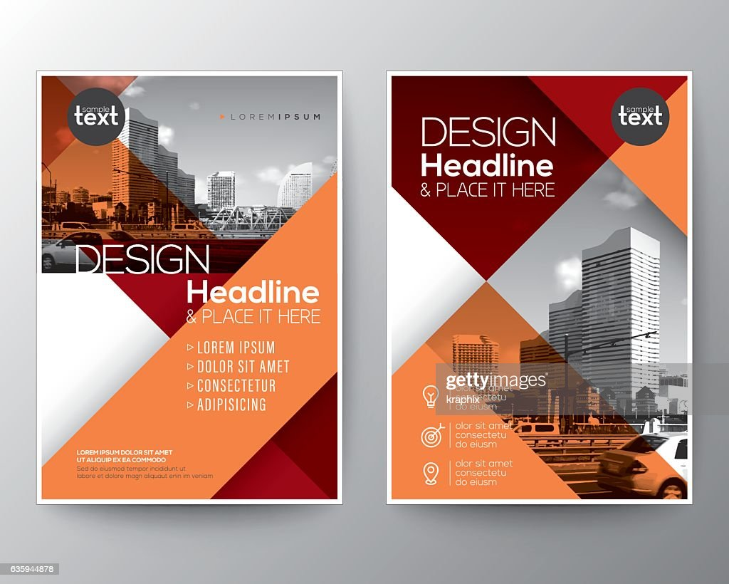 Red and Orange diagonal line Brochure annual report cover Flyer