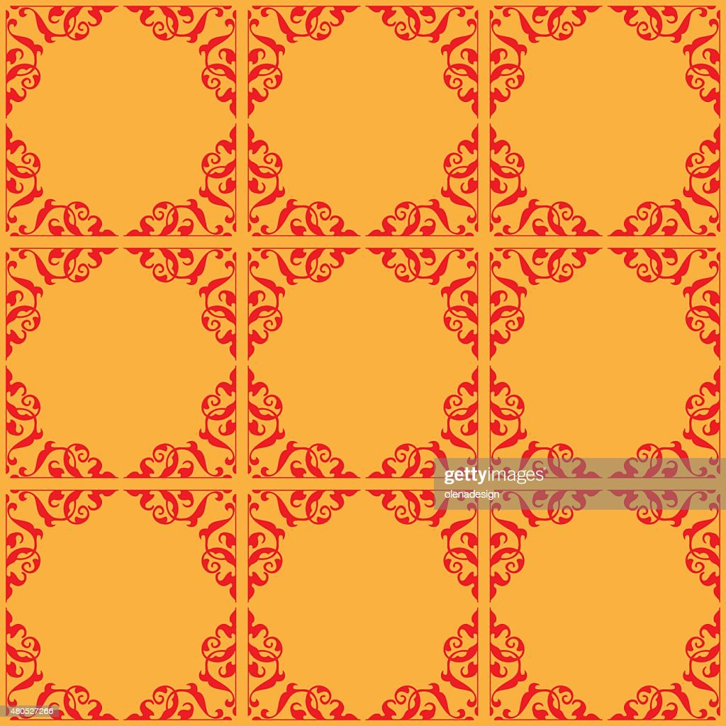 red and orange ornamental seamless pattern - vector : Vector Art