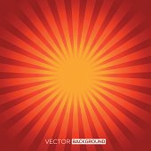 A red and orange sun background