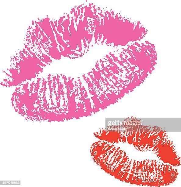 ilustrações, clipart, desenhos animados e ícones de vermelho e escolha lisptick beijo-vetor - lábio