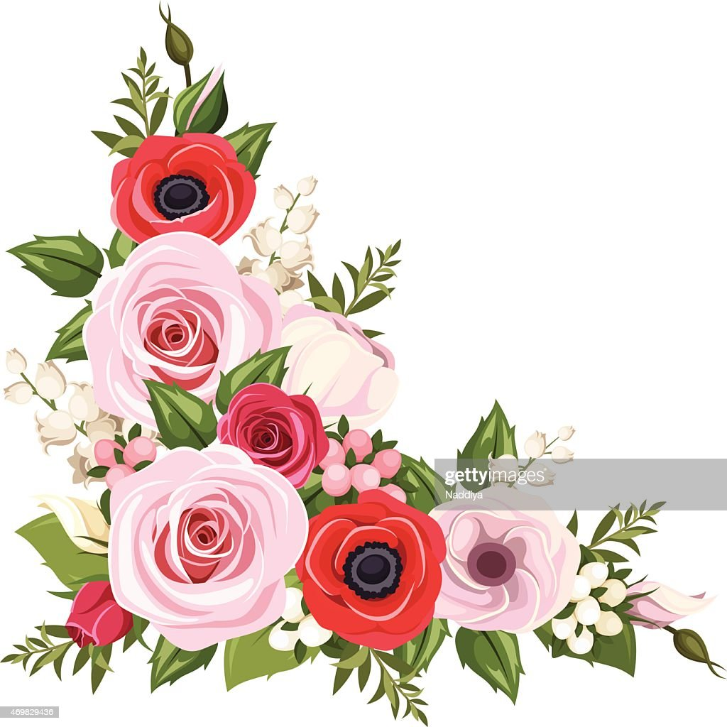 Red and pink flowers. Vector corner background.