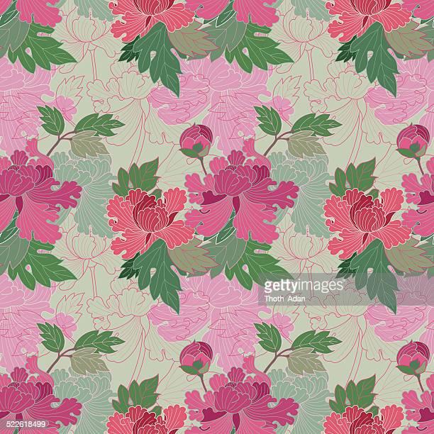 red and pink peonies (seamless pattern kimono style) - kimono stock illustrations