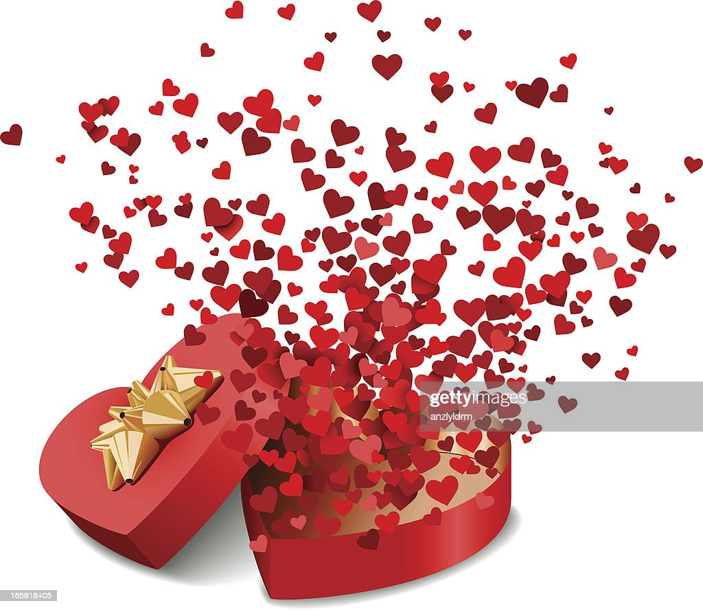 Red and pink small hearts in heart-shaped box illustration