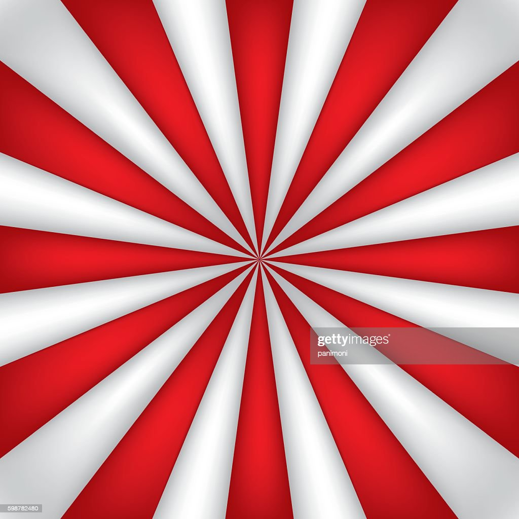 Red and white abstract rays circle background, striped wallpaper, mesh