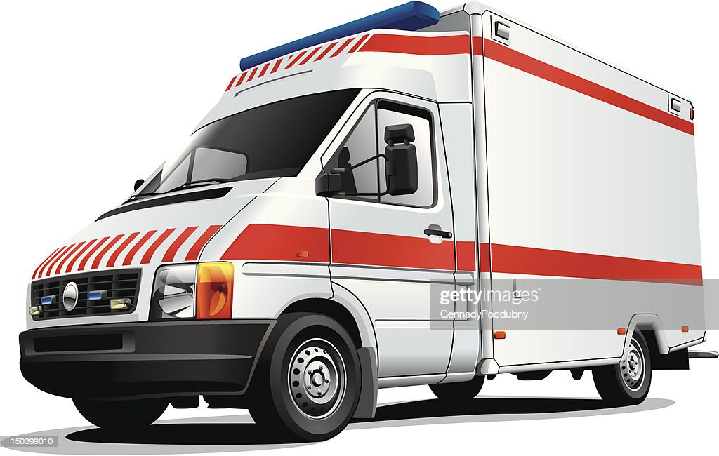 Red and white ambulance vehicle on a white background