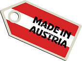 Red and white and black made in Austria tag