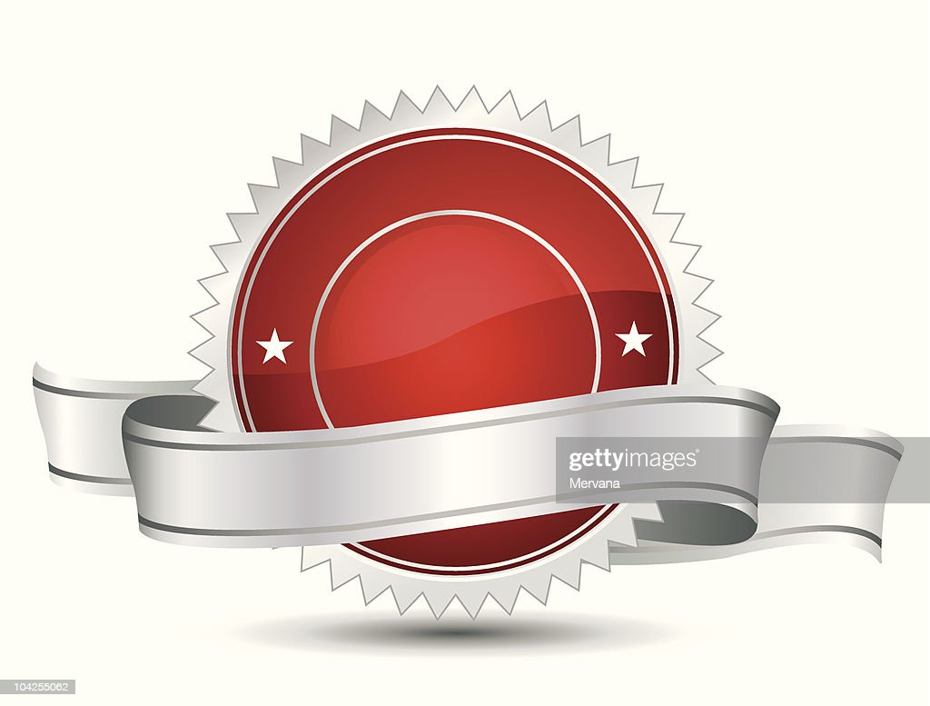 Red and white award banner vector