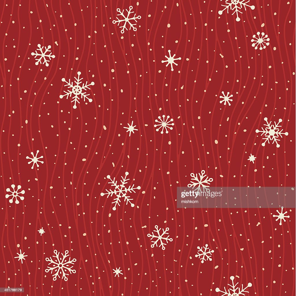 A red and white card with seamless snowflake pattern
