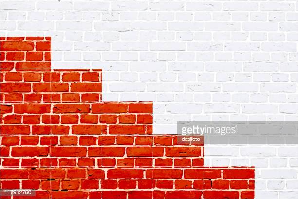 red and white color brick pattern with a staircase, stairs or steps podium painted on a white wall, texture grunge background vector illustration - brick stock illustrations