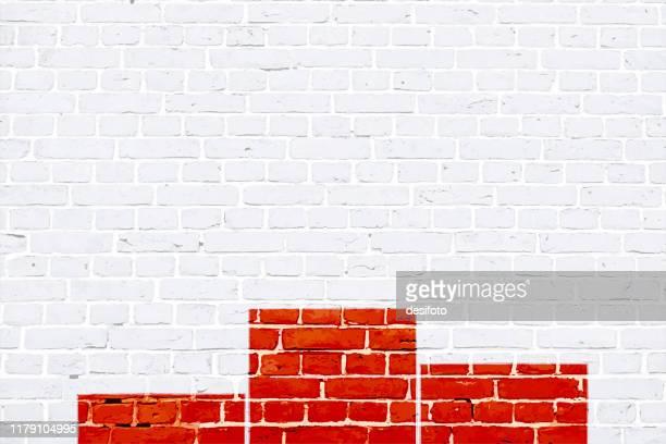 rot und weiß farbe ziegelmuster mit einem siegerpodest auf einer weißen wand gemalt, textur grunge hintergrund vektor-illustration - erster platz stock-grafiken, -clipart, -cartoons und -symbole