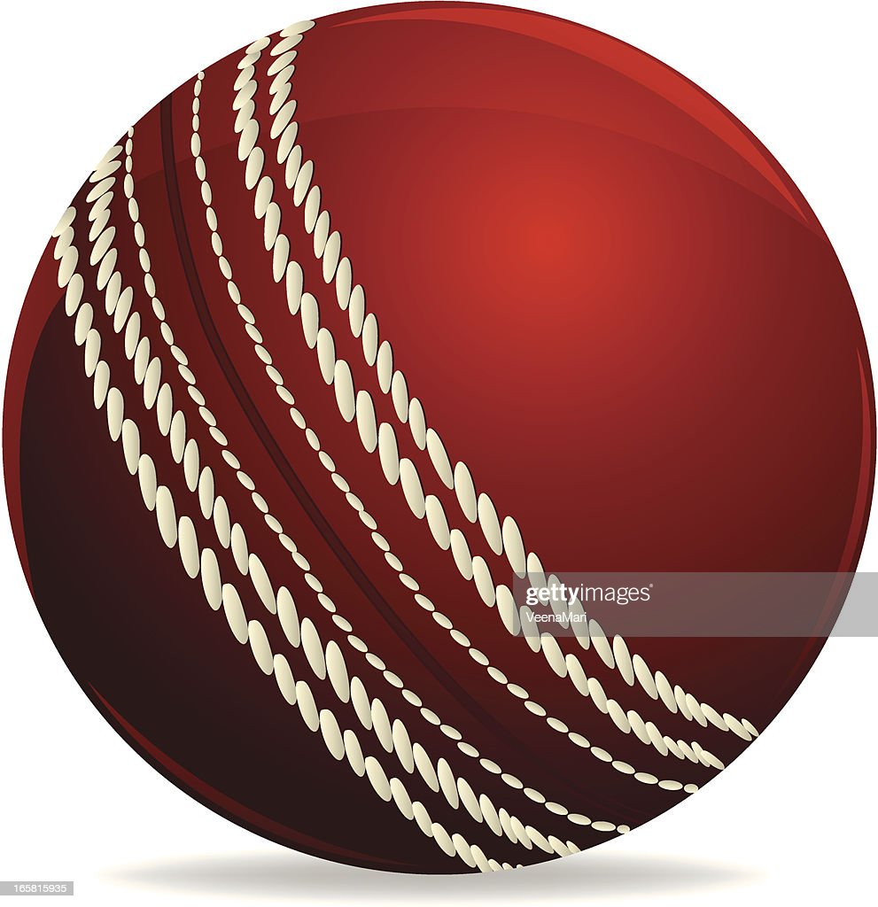 A red and white cricket ball on a white background