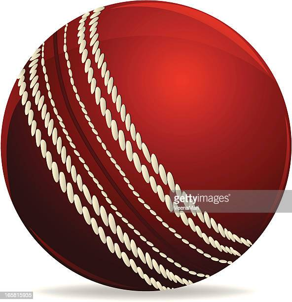 a red and white cricket ball on a white background - cricket ball stock illustrations