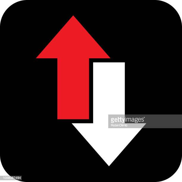 red and white direction arrow icon - moving down stock illustrations