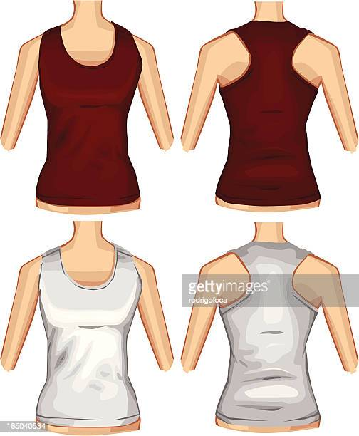 Red And White Female TankTop VECTOR Front Back