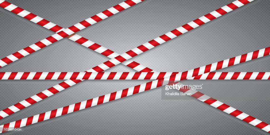 Red and white lines of barrier tape. The pole guard protects against the lack of input. Red and white barricade on a transparent background. Realistic red and white danger tape.