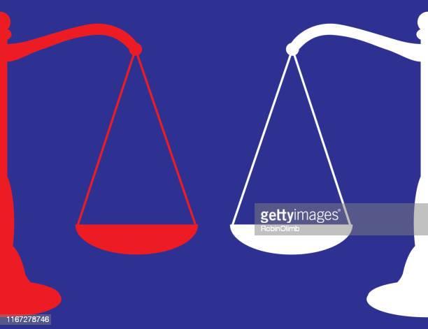 ilustraciones, imágenes clip art, dibujos animados e iconos de stock de icono de las escalas rojas y blancas de la justicia - balanzas de la justicia