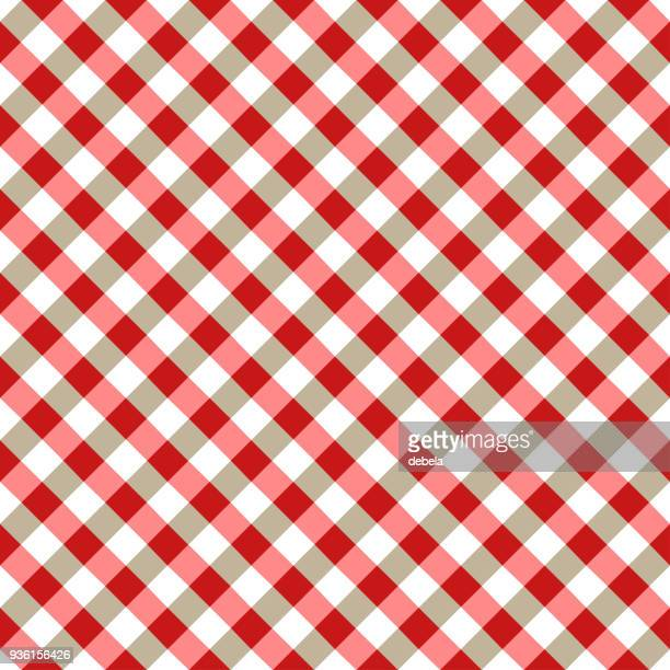 red and white tablecloth argyle pattern - scottish tweed stock illustrations, clip art, cartoons, & icons