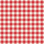Red and white textured plaid gingham tablecloth
