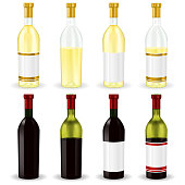 Red and white wine. Collection of bottles