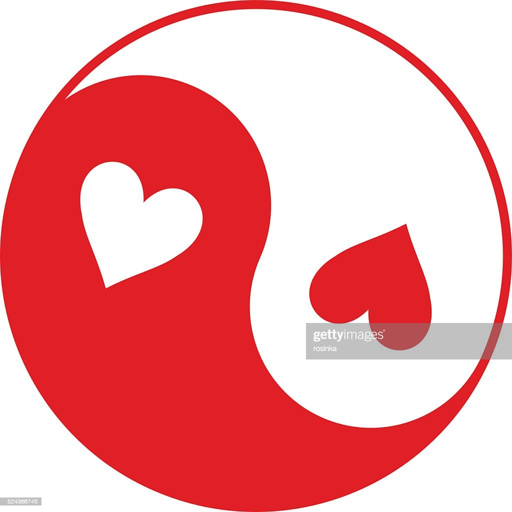 Red and white Yin-Yang symbol with hearts instead of dots