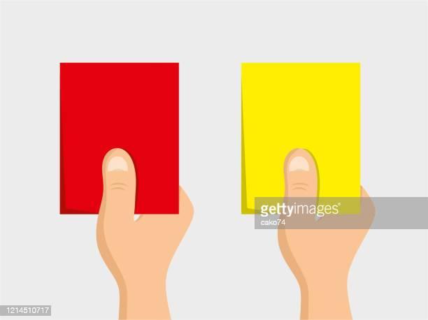 ilustrações, clipart, desenhos animados e ícones de ilustração de desenho animado de cartões vermelhos e amarelos - árbitro