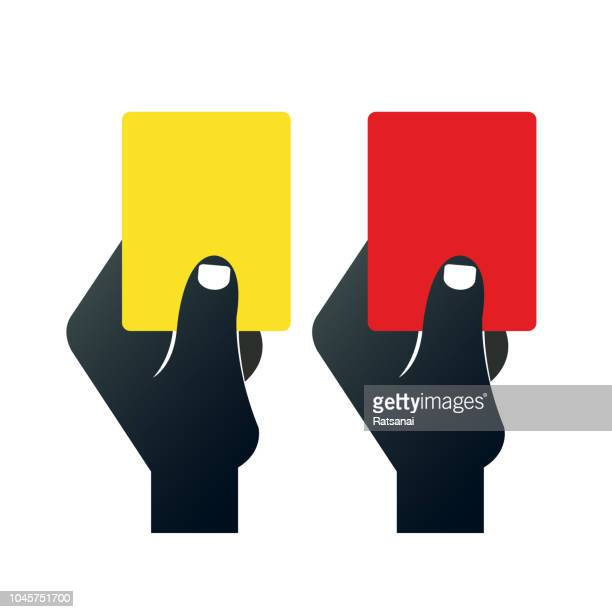 red and yellow cards - red card stock illustrations