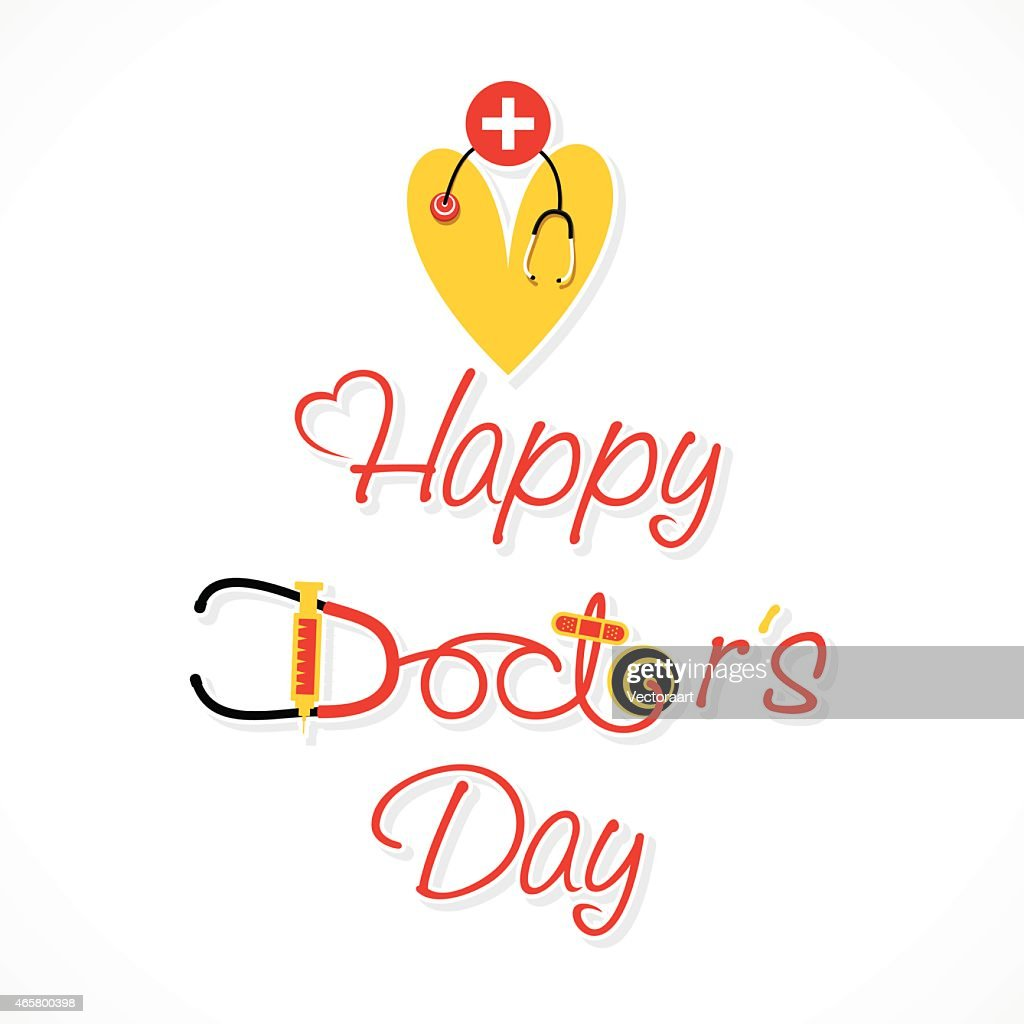 Red and yellow doctor's day design on a white background