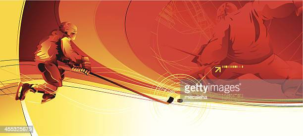 red and yellow hockey player themed tv intro still - hockey stock illustrations, clip art, cartoons, & icons