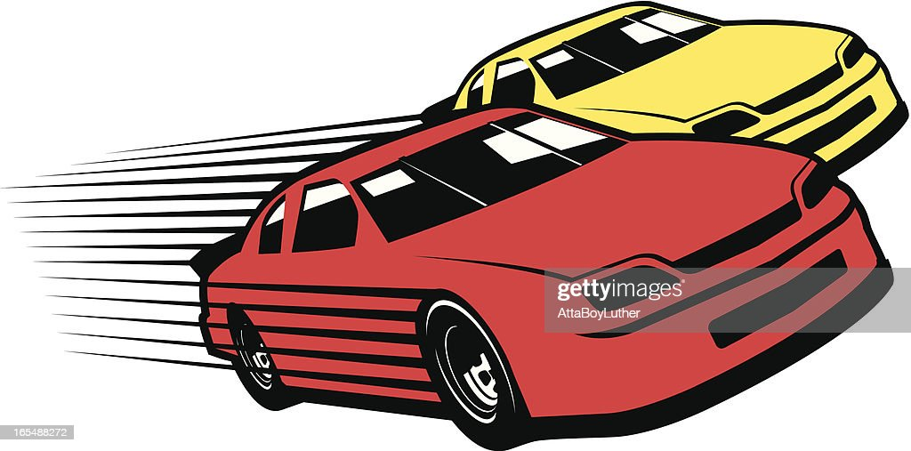 Red and yellow race cars cartoon