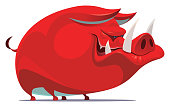 red angry boar