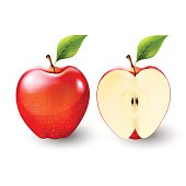 Red apple and a half of apple, fruit, transparent, Vector
