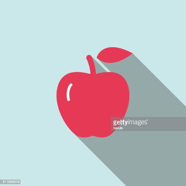 ilustraciones, imágenes clip art, dibujos animados e iconos de stock de red apple, comida y bebida icono plana, serie ui - manzana