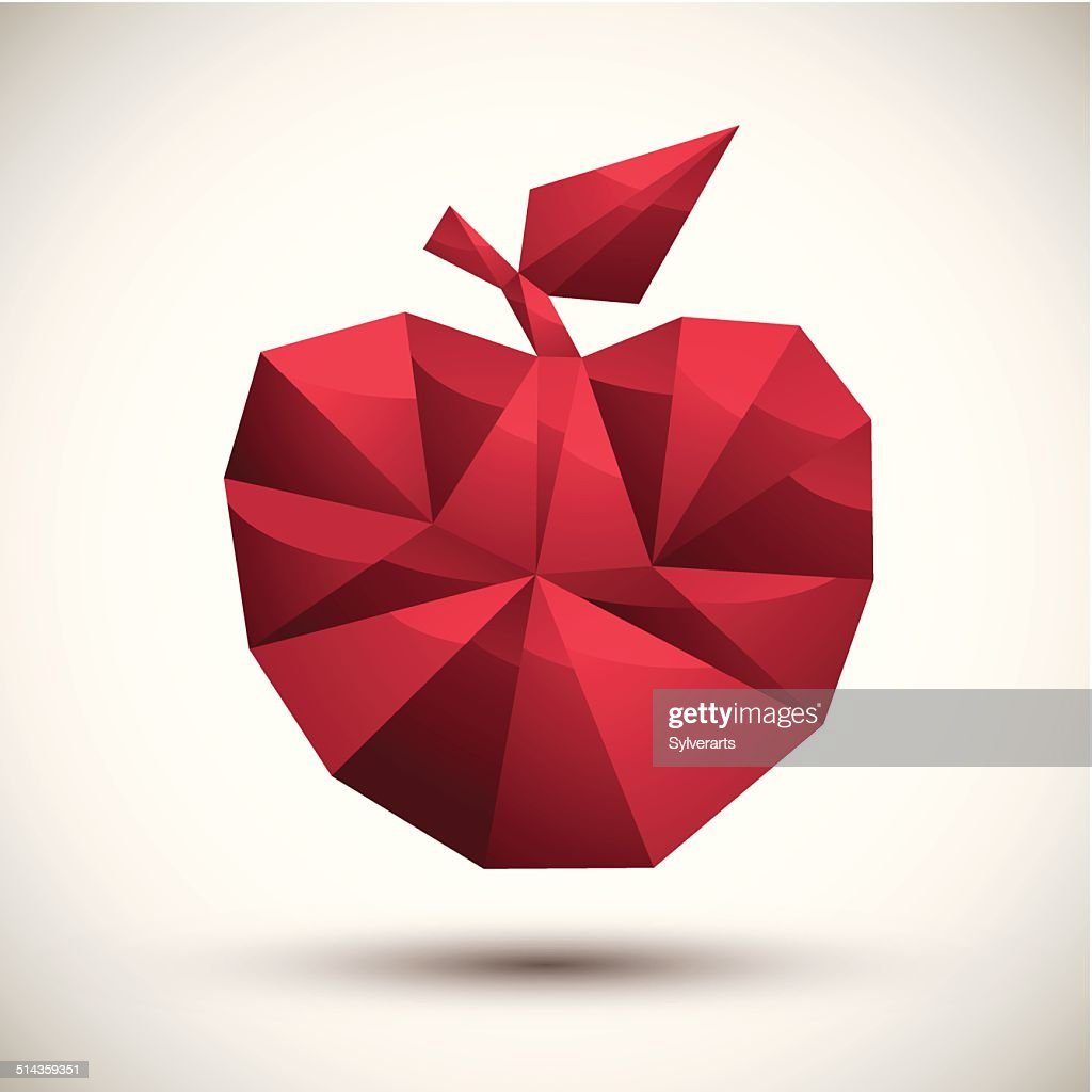 Red apple geometric icon made in 3d modern style