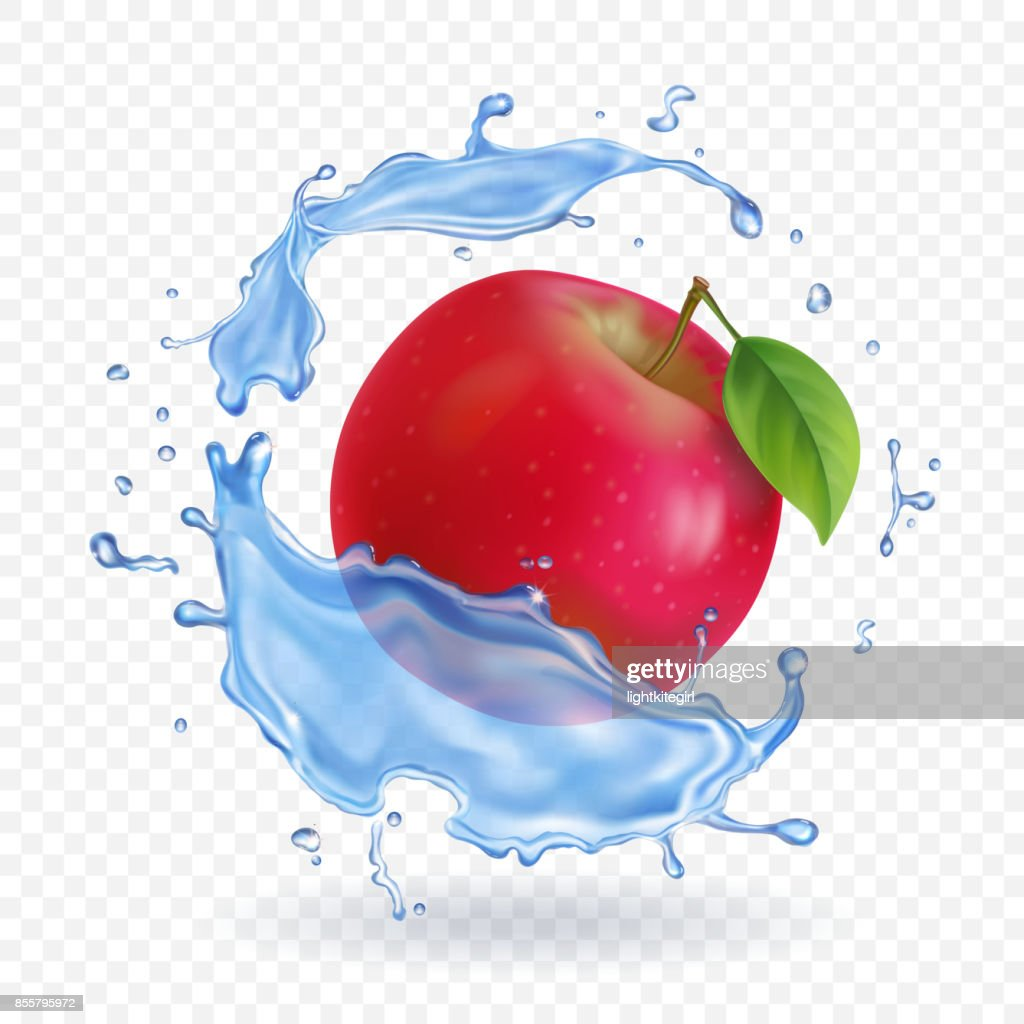 Red apple realistic fruit in water splash Vector illustration