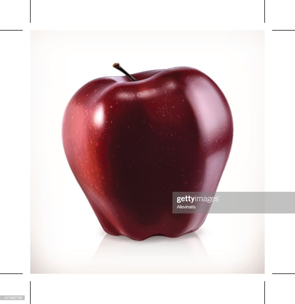 Red apple, vector icon