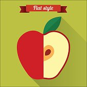 Red applel flat icon with long shadow.