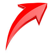 Red arrow. 3d shiny UP rising icon