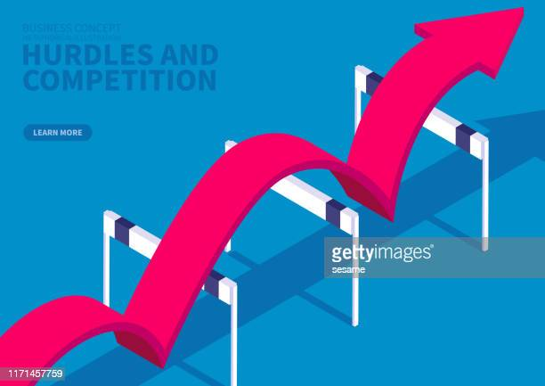 red arrow crosses obstacles and goes straight ahead - hurdle stock illustrations
