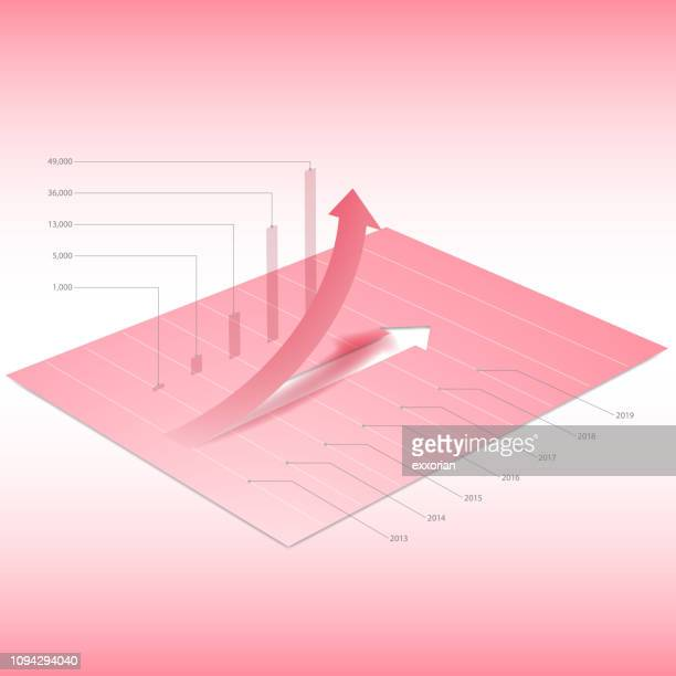 red arrow going up graph & chart - fiscal year stock illustrations